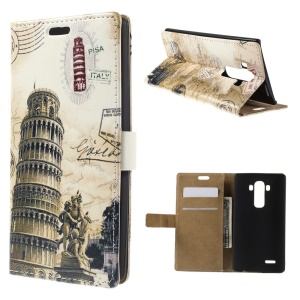 Leaning Tower of Pisa Folio Leather Card Holder Shell for LG G4