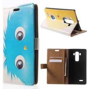 Blue Hairy Doll Folio Leather Card Holder Stand Case for LG G4