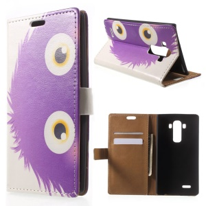 Purple Hairy Doll Folio Leather Card Holder Stand Cover for LG G4