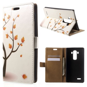 Illustration Pattern Folio Leather Stand Case for LG G4 - Autumn Maple Tree