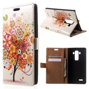 Illustration Pattern Flip Leather Wallet Case for LG G4 With Stand- Colorful Flower Tree