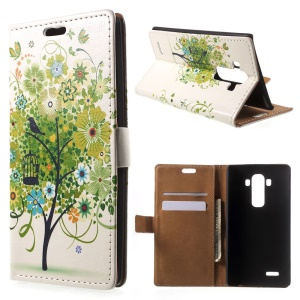 Illustration Pattern Horizontal Flip Leather Wallet  Stand Cover for LG G4- Colorful Flower Tree