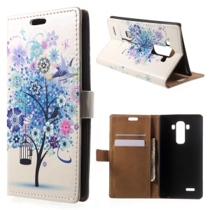 Blue Flower Tree Leather Wallet Shell For LG G4 With Stand