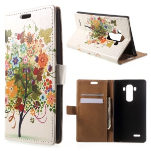 Illustration Style Flip Leather Stand Wallet Shell for LG G4 - Colorized fruit Tree