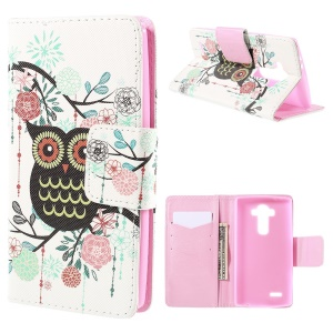Owl Flowers Flip Wallet Leather Cover for LG G4 with Stand