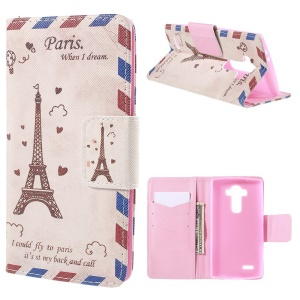 Eiffel Tower Flip Wallet Leather Cover for LG G4 with Stand