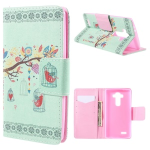 Tree and Cage Flip Wallet Leather Cover for LG G4 with Stand