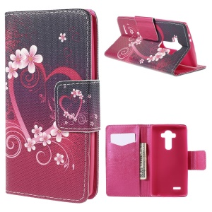 Heart Flowers Wallet Leather Cover for LG G4 with Stand