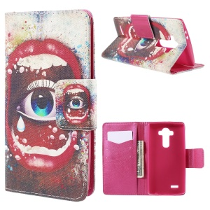 Flip Wallet Leather Cover for LG G4 with Stand - Big Eye and Sexy Lip