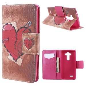 Red Heart Flip Wallet Leather Cover for LG G4 with Stand