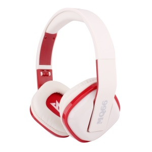 VYKON MQ66 3.5mm Jack Foldable Headset with Mic for iPhone Samsung HTC etc - Red / White