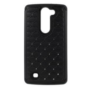 Rhinestone Lattice Pattern PC + Silicone Hybrid Case for LG Magna H502F H500F / G4c H525N - Black