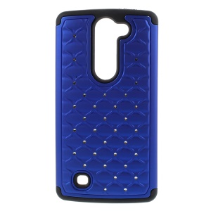 Rhinestone Lattice PC + Silicone Case Cover for LG Magna H502F H500F / G4c H525N - Black / Dark Blue