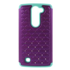 Rhinestone Lattice PC + Silicone Case for LG Magna H502F H500F / G4c H525N - Baby Blue / Purple