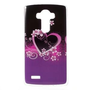For LG G4 Gel TPU Phone Cover - Purple Heart Flowers