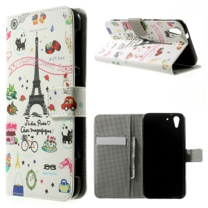 Eiffel Tower & Fruits Wallet Leather Stand Case for HTC Desire Eye