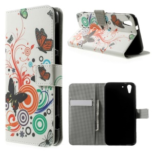 Butterfly Circles Wallet Leather Stand Cover for HTC Desire Eye