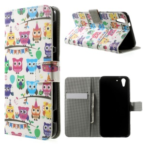 Multiple Owls Leather Magnetic Case w/ Stand for HTC Desire Eye