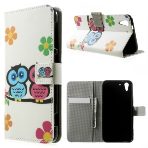Two Owls & Flowers Leather Magnetic Cover w/ Stand for HTC Desire Eye