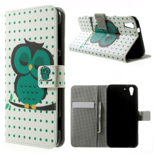 Sleeping Owl on the Branch PU Leather Stand Case Cover for HTC Desire Eye