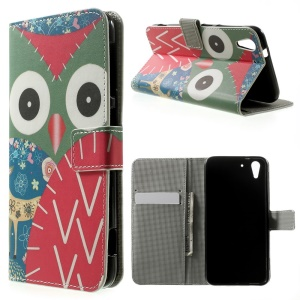 Flowered Owl Wallet Leather Stand Case Cover for HTC Desire Eye