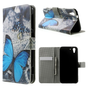 Blue Butterfly Magnetic Leather Stand Case for HTC Desire Eye