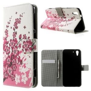 Plum Blossom Wallet Leather Stand Cover Case for HTC Desire Eye