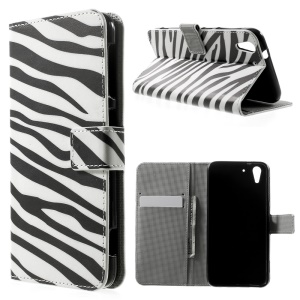 Zebra Stripes Stand Leather Card Holder Case for HTC Desire Eye