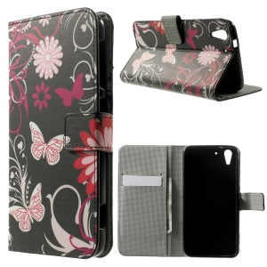 Butterfly Flowers Stand Leather Card Holder Cover for HTC Desire Eye