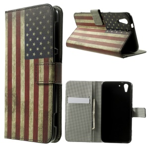 Vintage American Flag Wallet Leather Stand Cover for HTC Desire Eye