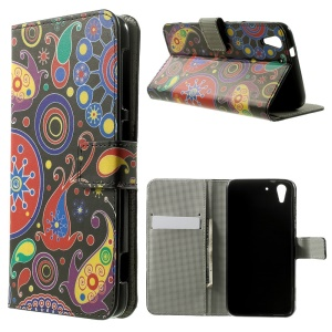 Paisley Flowers Wallet Leather Stand Cover for HTC Desire Eye