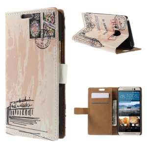 Wallet Leather Case for HTC One M9 with Stand - Big Ben and Stamp