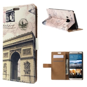 Card Slots Leather Case for HTC One M9 with Stand - Map and Triumphal Arch