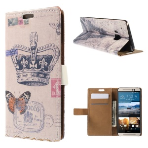 Wallet Leather Cover for HTC One M9 with Stand - Crown and Butterfly