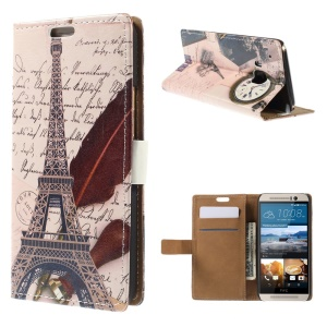 Card Slots Leather Cover for HTC One M9 with Stand - Eiffel Tower and Clock