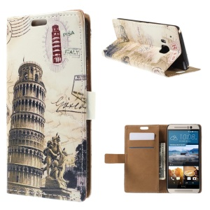 Card Slots Leather Shell for HTC One M9 with Stand - Leaning Tower and Map