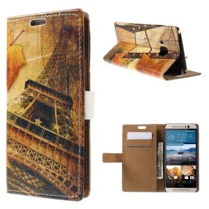 Stand Leather Case for HTC One M9 - Maple and Eiffel Tower