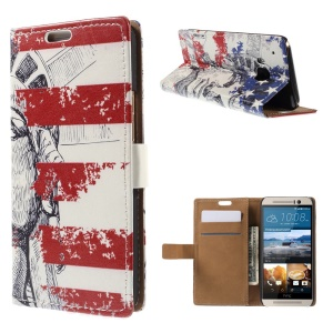Card Slots Leather Case for HTC One M9 with Stand - Statue of Liberty