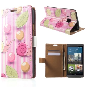 Stand Leather Case for HTC One M9 with Card Slots - Snail in Pink Stripe Background