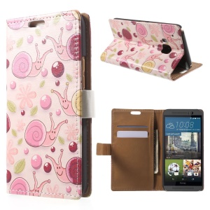 Stand Leather Case for HTC One M9 with Card Slots - Snail and Balls
