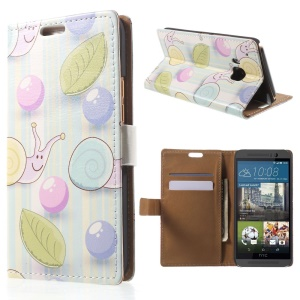 Wallet Leather Case for HTC One M9 with Card Slots - Snail in Blue Background