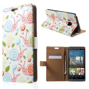 Stand Leather Case for HTC One M9 with Card Slots - Snail and Flower