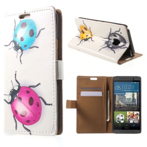 Stand Leather Cover for HTC One M9 with Card Slots - Colorized Ladybirds