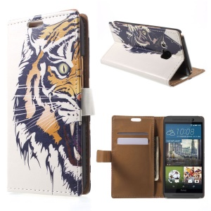 Stand Leather Shell for HTC One M9 with Card Slots - Roaring Tiger