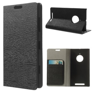 Tree Bark Texture Wallet Leather Case for Nokia Lumia 830 w/ Stand - Black