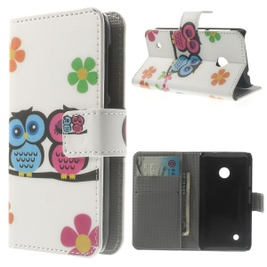 Couple Owls Leather Wallet Case for Nokia Lumia 530 RM-1017 RM-1019 w/ Stand