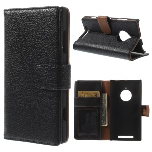 Lychee Texture Wallet Leather Stand Case for Nokia Lumia 830 - Black