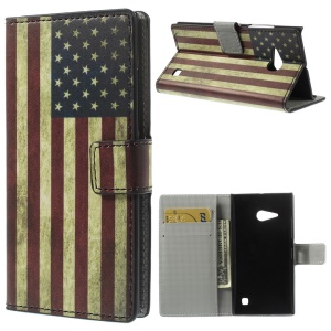 US The Old Glory Folio Stand Leather Wallet Cover for Nokia Lumia 730 Dual SIM