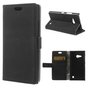 Gravel Grain Leather Stand Case w/ Card Slots for Nokia Lumia 730 Dual SIM - Black