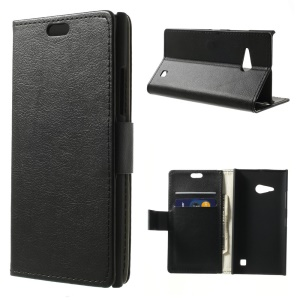 Black Wallet Stand Litchi PU Leather Skin Case for Nokia Lumia 730 Dual SIM